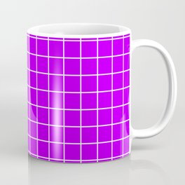 Electric purple - violet color - White Lines Grid Pattern Coffee Mug