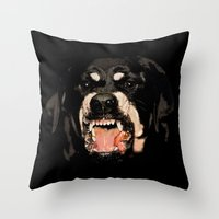 givenchy Throw Pillows featuring Givenchy Antigona Rottweiler Art Print by Le' + WK$amahoodT Boutique by Paynasa®