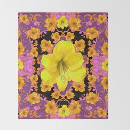 TROPICAL YELLOW & GOLD AMARYLLIS FLOWERS PATTERN ON Throw Blanket