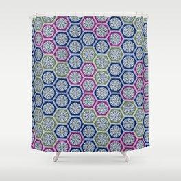 Hexagonal Dreams - Purple Blue Green Shower Curtain