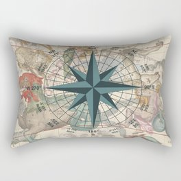 Compass Graphic with an ancient Constellation Map Rectangular Pillow