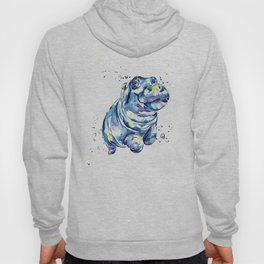 Hippo Colorful Watercolor Hippo Painting - Grace Hoody