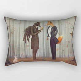 Raven and Fox in  a dark forest looking at the watch Rectangular Pillow
