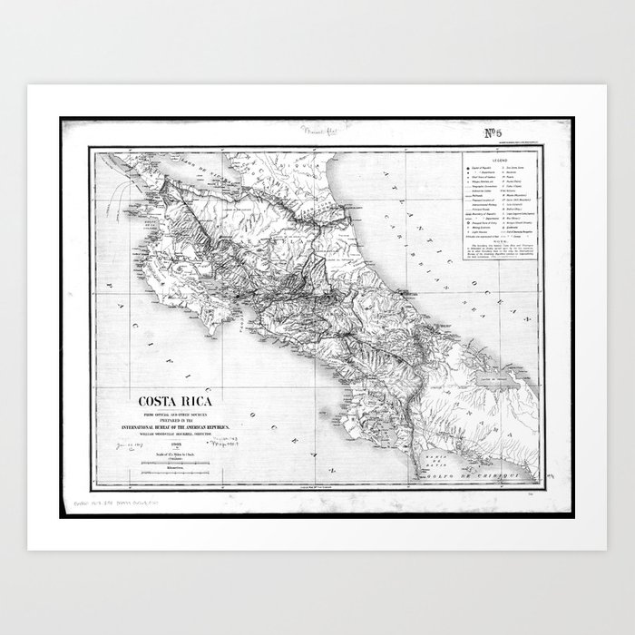 graphic relating to Printable Map of Costa Rica identify Classic Map of Costa Rica (1903) BW Artwork Print via bravuramedia