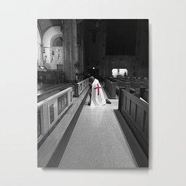 Black and White Kneeling Templar Red Cross Metal Print