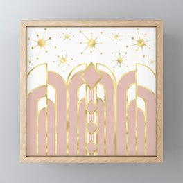 Art Deco Geometric Architectural Shapes and Stars in Blush Pink and Yellow Gold Framed Mini Art Print