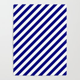 Navy Blue and White Candy Cane Stripes Poster