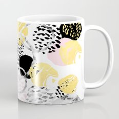 Amalia - gold abstract black and white glitter foil art print texture ink brushstroke modern minimal Mug