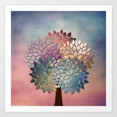 Abstract Petal Tree Art Print