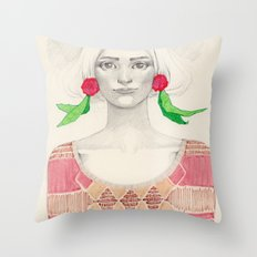 Two Red Flowers Throw Pillow