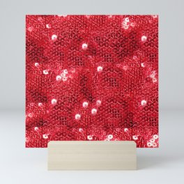 Faux Red Sequin Background Mini Art Print
