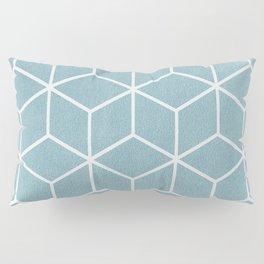 Light Blue and White - Geometric Textured Cube Design Pillow Sham