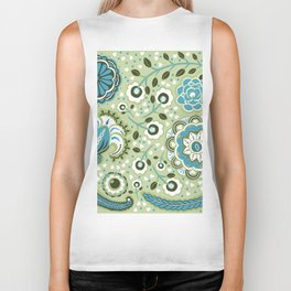 Aqua and green Paisley Flowers - by Jezli Pacheco Biker Tank