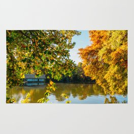 Blue Lake House, Home Sweet Home, Fall Landscape, Lonely Home, Colorful Trees, Autumn Season Rug