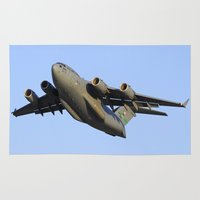 aviation Area & Throw Rugs featuring C-17 Globemaster Aviation USAF Take Off by Aviator