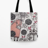 garden Tote Bags featuring Winter Garden by Judith Clay