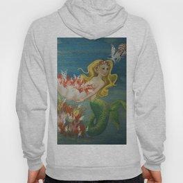 Mermaid and Nautilus Oil on Birchwood Panel Hoody