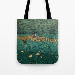 Vintage Japanese Woodblock Print Kawase Hasui Japanese Children Lotus Flowers Garden Wooden Bridge Tote Bag