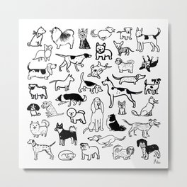 Black and White Dog Drawings | Cute Canines Pattern Metal Print