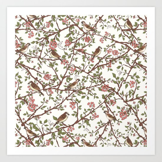 Sparrow Tree - Seamless Pattern Art Print