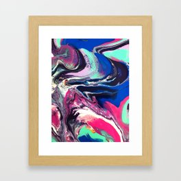 7 Layers of Midnight Acrylic Pour Framed Art Print