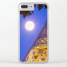 Eiffel Tower Moon Clear iPhone Case