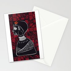 Tribal woman with traditional patterns Stationery Cards
