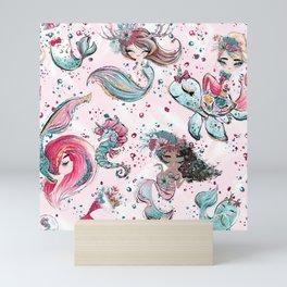Christmas Mermaid Patterns 03 Mini Art Print