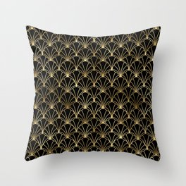 Scallop Shells in Black and Gold Art Deco Vintage Foil Pattern Throw Pillow