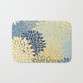 Floral Print, Yellow, Gray, Blue, Teal Bath Mat