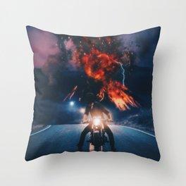 Biker appreciating eruption of volcano of fire by GEN Z Throw Pillow