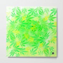 Lemon & Lime Cannabis Swirl Metal Print