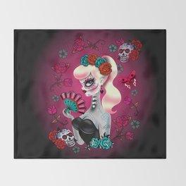 Rockabilly Blonde Sugar Skull Girl Throw Blanket