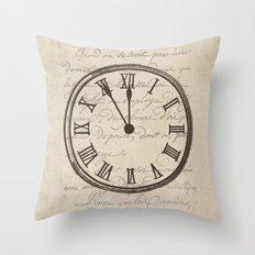 Script Clock 3 Throw Pillow