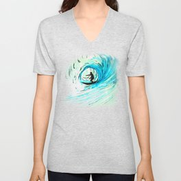 Surfer in blue Unisex V-Neck