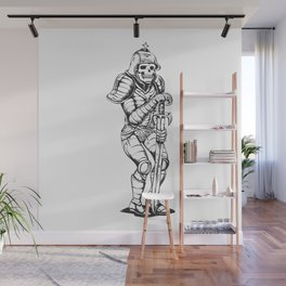 knight skeleton - warrior illustration - skull black and white Wall Mural