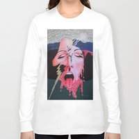 notebook Long Sleeve T-shirts featuring She's a Bit Touched by Ana Lillith Bar