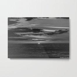 Sunset North Sea Denmark Bjerregard Beach 10 bw Metal Print