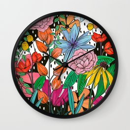 Colorful Floral Explosion Wall Clock