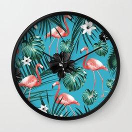Tropical Flamingo Flower Jungle #2 #tropical #decor #art #society6 Wall Clock