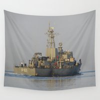 greek Wall Tapestries featuring Greek Warship by Malcolm Snook