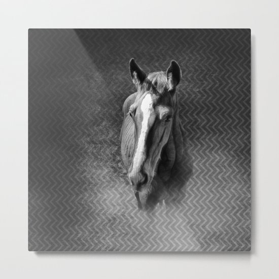 Horse emerging from the mist Metal Print