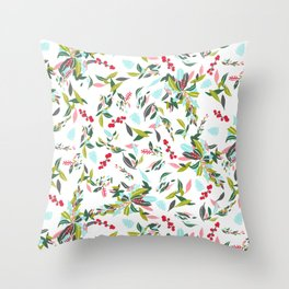 Noel Floral Throw Pillow
