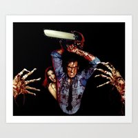 evil dead Art Prints featuring evil dead  by Official Nicolas Cage Cats
