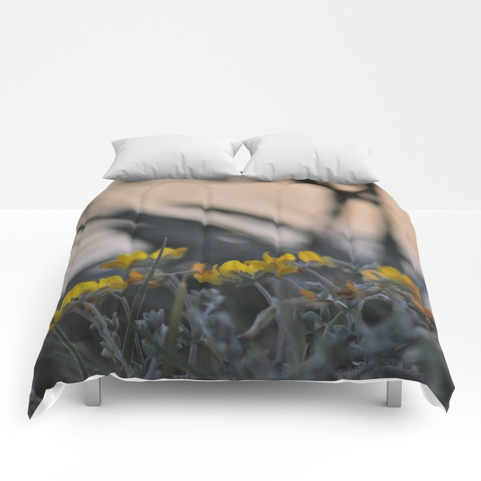 """""""Yellow flowers looking at sea sunset"""" Comforters"""