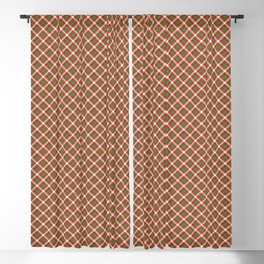 Christmas Holly Green and Red Diagonal Tartan with Crossed White Lines Blackout Curtain