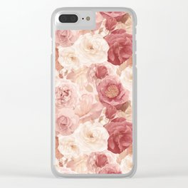 seamless   pattern with roses and leaves . Endless texture Clear iPhone Case