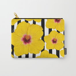 Summer Hibiscus Fun on Black & White Stripes Carry-All Pouch