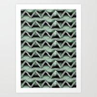 malachite Art Prints featuring Malachite Triangles by naturessol