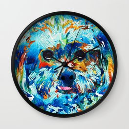 Colorful Dog Art - Lhasa Love - By Sharon Cummings Wall Clock
